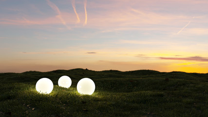 three glowing spheres illumination a garden at sunset 3d rendering