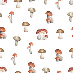 Seamless white pattern with mushrooms. Watercolor hand drawn