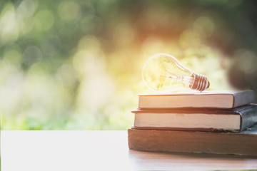 book and glowing light bulb over it. Knowledge and education concept.