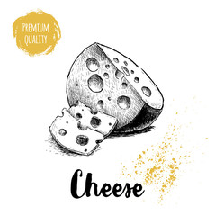 Hand drawn sketch style round head of cheese with sliced cheese pieces. Vector organic food illustration poster. Quality product.