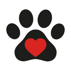 trail of dog with heart on white background
