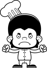 Cartoon Angry Chef Chimpanzee