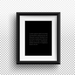 Photo frame A4, A3. Format paper design with text, picture frame and shadow. Vector isolated on transparent background