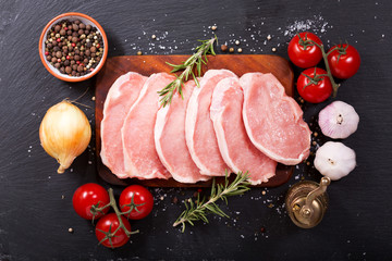 fresh pork with ingredients for cooking