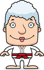 Cartoon Smiling Karate Woman