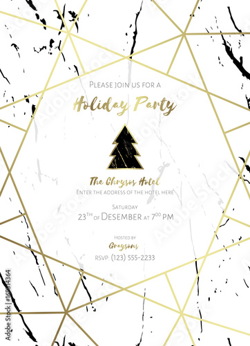 Christmas Invitation Background Gold.Invitation To A Holiday Party White And Black Marble