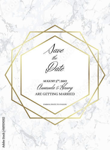 save the date design template formal invite to follow white marble