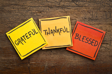 Grateful, thankful, blessed  spiritual words