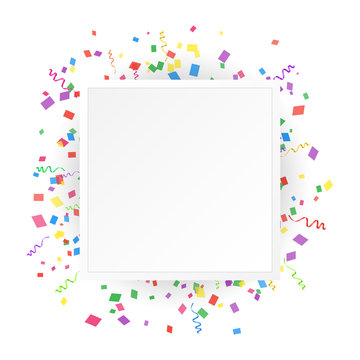A square banner on a white background with colored confetti and ribbons. Vector illustration