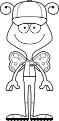 Cartoon Smiling Baseball Player Butterfly