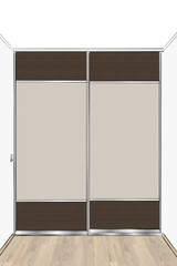 3D rendering. Contemporary wardrobe with sliding doors. Front view.