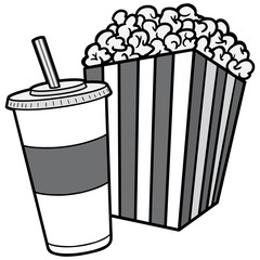 Popcorn and Soda Illustration