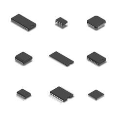 Set of different chips in 3D, vector illustration.