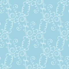 Seamless pattern with blue wallpaper ornaments