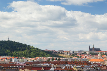 Petrin Hill, Prague (Hradcany) Castle and old buildings in Prague, Czech Republic, viewed from the Vysehrad fort. Copy space.