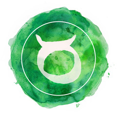 taurus zodiac sign on watercolor background