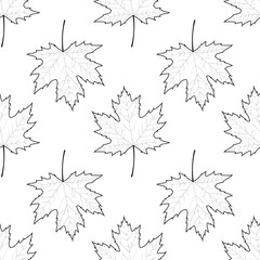 Autumn outline maple leaves seamless pattern. Vector illustration