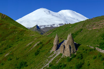 Panorama view of Elbrus mountain in summer