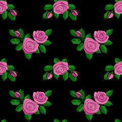 Pink Rose Embroidery Seamless Pattern