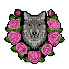 Embroidery Wolf and Roses Patch