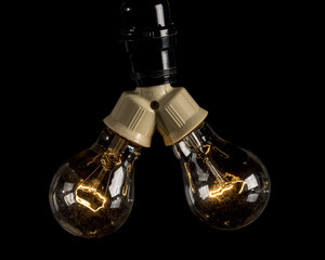 Two light bulb fixture with incandescent bulbs