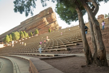 Red Rocks amp theater with people exercising