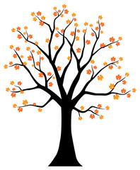Autumn tree. Vector illustration