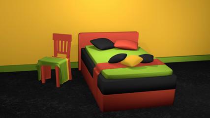 stylisches Bett in kräftigen Farben mit dekorativen Stuhl