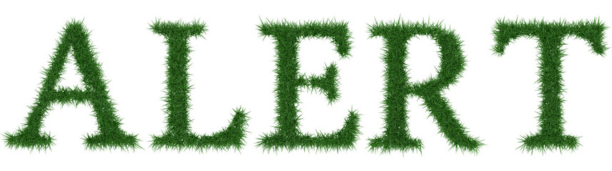 Alert - 3D rendering fresh Grass letters isolated on whhite background.