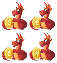 Red Dragon guards symbols of different currencies. Dollar, euro, yen, pound sterling. Cartoon styled vector illustration. Elements is grouped. Isolated on white. No transparent objects.