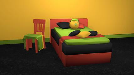 stylisches Bett in kräftigen Farben mit schlafendem Emoticon und dekorativen Stuhl