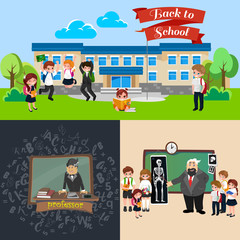 Back to school set of pictographs, childrens life newspaper and library, boys basketball girls cheerleader team, teacher with pupils at class, professor lecture college, building vector illustration