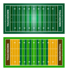 American football fields. Set. Vector, isolated on white