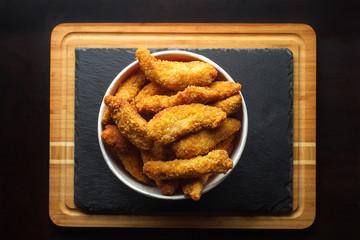 Bucket of chicken nagets.
