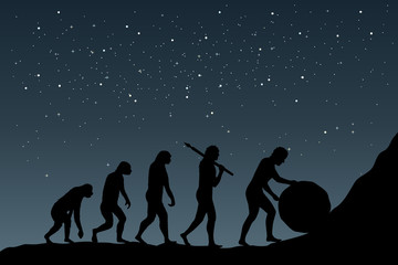 Human evolution into the present digital world. Business risk concept.