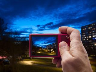 Evening in neighborhood in camera viewfinder