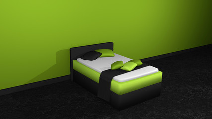 Modern bed in green-black from side view