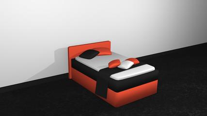 modernes Bett in orange-schwarz aus Seitenansicht