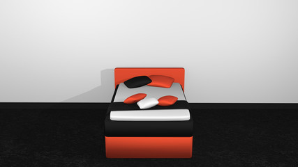 modernes Bett in orange-schwarz
