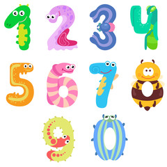 Numbers like insects / There are ten numbers like different insects, worms, and beetles