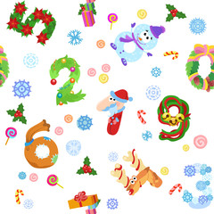 Numbers like symbols of the Christmas pattern
