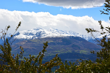 Winter landscape in the mountains, snow tops Pyrenees