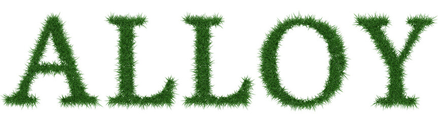 Alloy - 3D rendering fresh Grass letters isolated on whhite background.