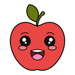 apple fresh fruit kawaii character vector illustration design
