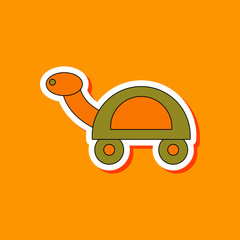 paper sticker on stylish background Kids toy turtle