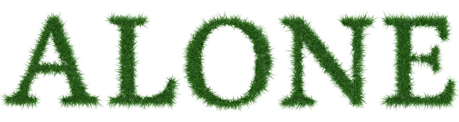 Alone - 3D rendering fresh Grass letters isolated on whhite background.