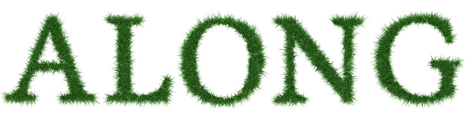 Along - 3D rendering fresh Grass letters isolated on whhite background.