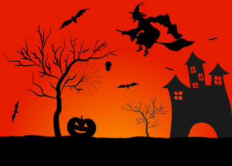 haunted house in mystic spooky halloween background