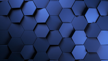Wall Mural - blue Metal futuristic hexagons background.3d render illustration