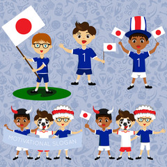 Set of boys with national flags of Japan. Blanks for the day of the flag, independence, nation day and other public holidays. The guys in sports form with the attributes of the football team